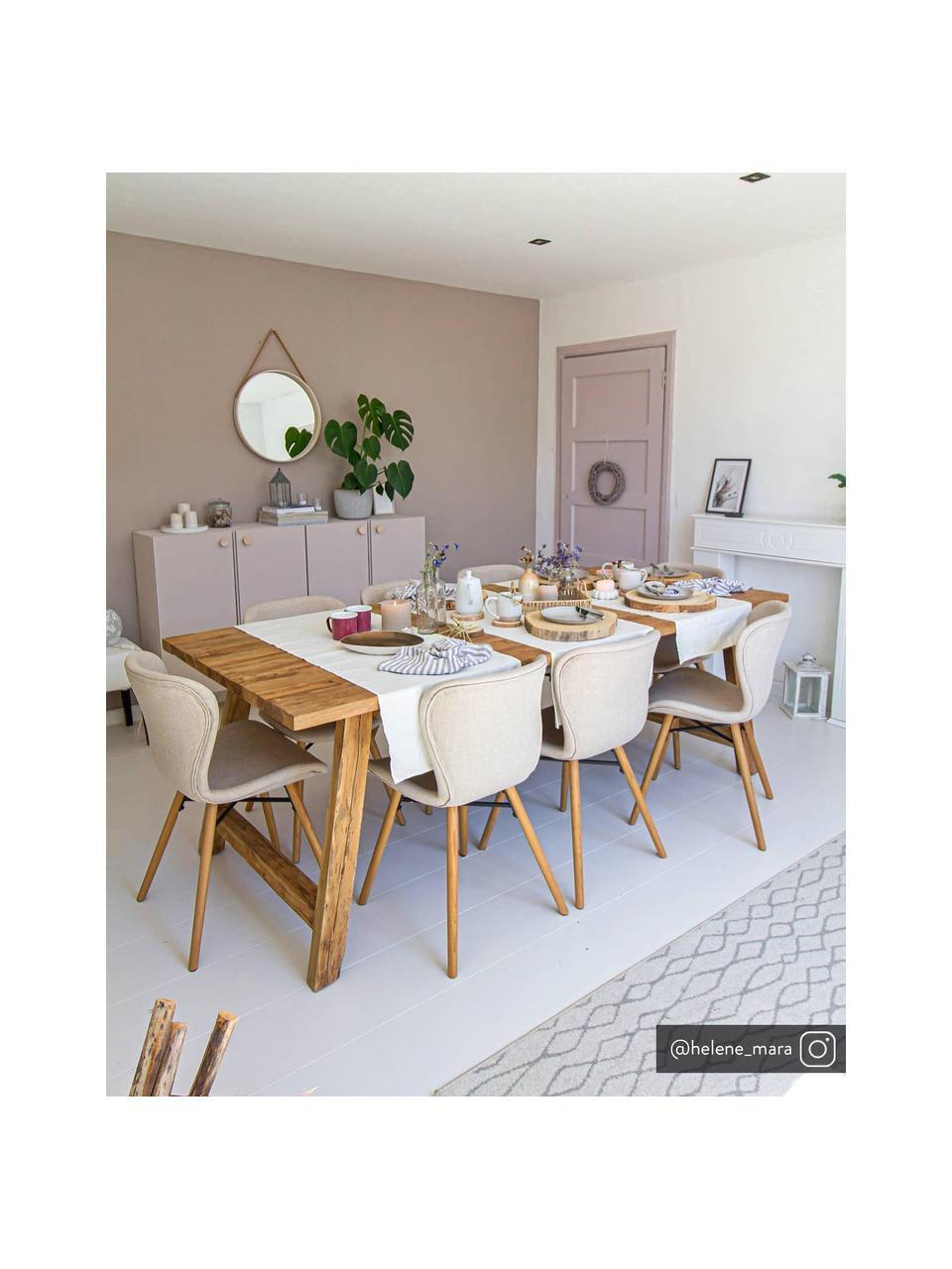 Gestoffeerde stoelen Batilda in zandkleurig, 2 stuks, Bekleding: polyester, Poten: Eikenhout, massief, gelak, Geweven stof zandkleurig, eikenhout, B 56 x D 47 cm