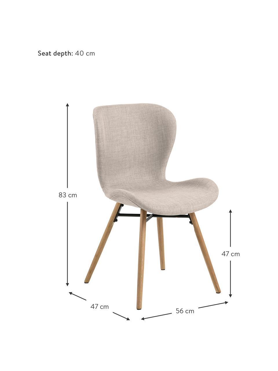 Krzesło tapicerowane Batilda, 2 szt., Tapicerka: poliester Dzięki tkaninie, Nogi: lite drewno dębowe, lakie, Odcienie piaskowego, drewno dębowe, S 56 x G 47 cm