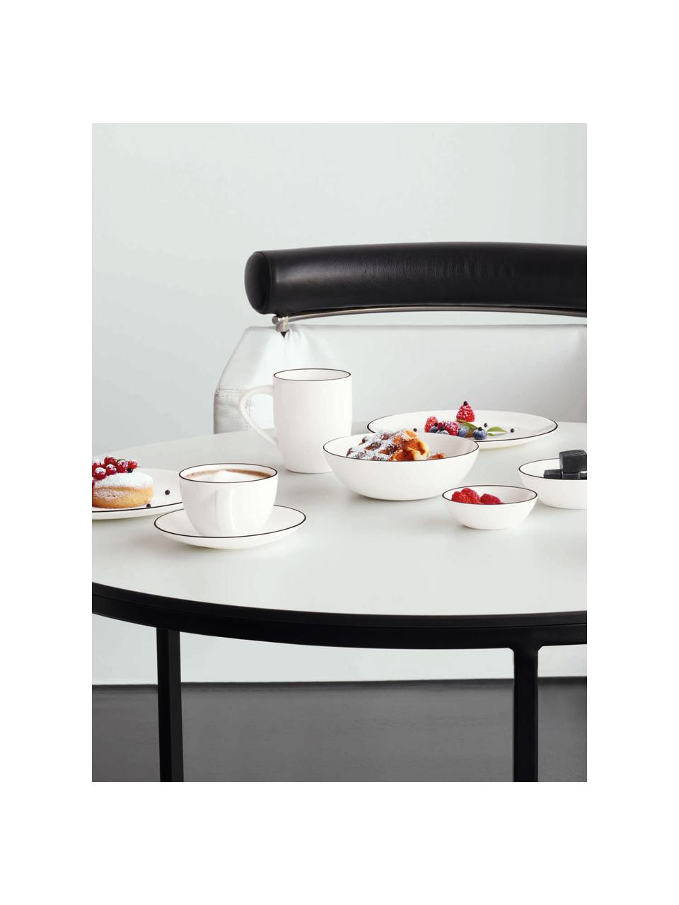 Piatto piano á table ligne noir 4 pz, Porcellana Fine Bone China Fine Bone China è una porcellana delicata che si distingue particolarmente per la sua lucentezza radiosa., Bianco Bordo: nero, Ø 27 cm
