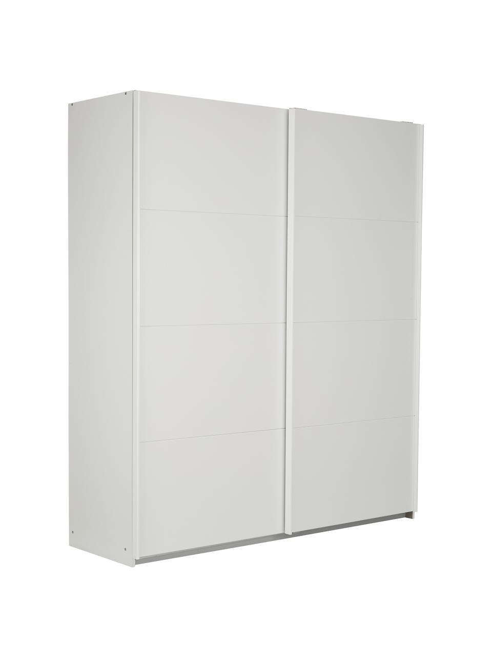 Kleiderschrank Mia mit 2 Schiebetüren in Weiß, Holzwerkstoff, beschichtet, Weiß, 180 x 210 cm