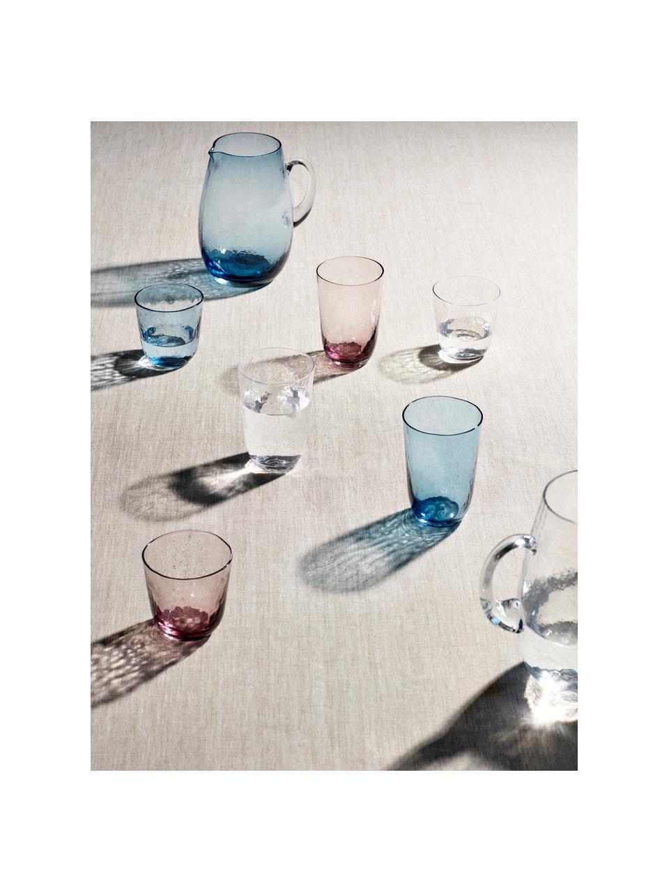 Mundgeblasene Wassergläser Hammered mit unebener Oberfläche, 4 Stück, Glas, mundgeblasen, Blau, transparent, Ø 9 x H 10 cm