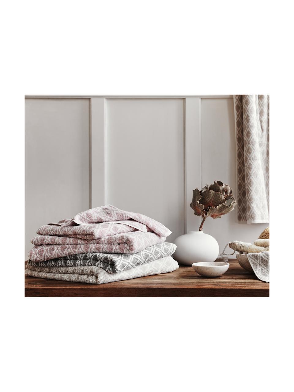 Lot de serviettes de bain réversibles Ava, 3 élém., Gris, blanc crème