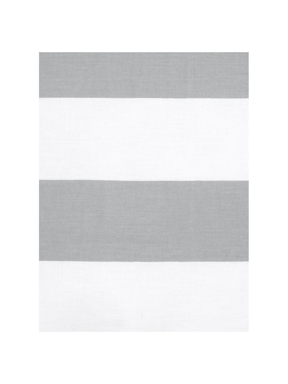 Gestreifte Baumwoll-Wendebettwäsche Lorena, Webart: Renforcé Fadendichte 144 , Weiß, Hellgrau, 135 x 200 cm + 1 Kissen 80 x 80 cm