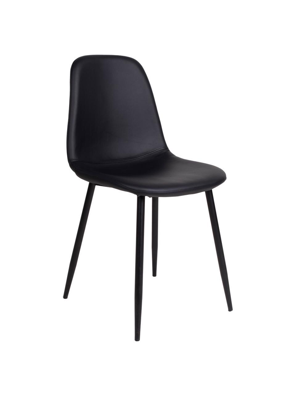 Krzesło tapicerowane ze sztucznej skóry Stockholm, Tapicerka: sztuczna skóra Dzięki tka, Nogi: metal lakierowany, Czarny, S 50 x G 47 cm