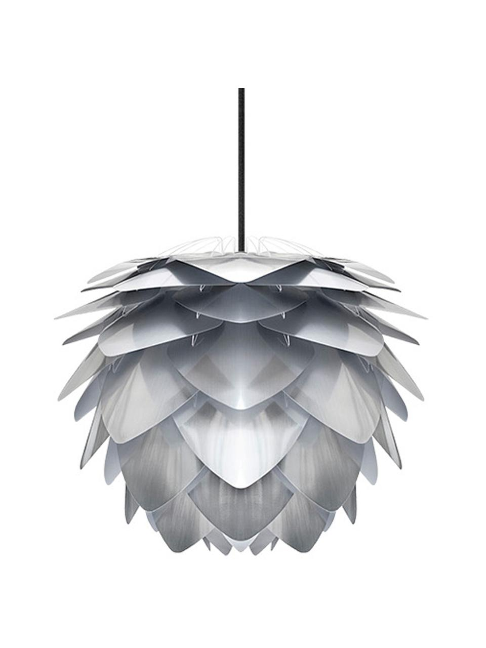 Lampada a sospensione Silvia, Paralume: polipropilene, Baldacchino: materiale sintetico, Grigio argento, Ø 32 x Alt. 25 cm
