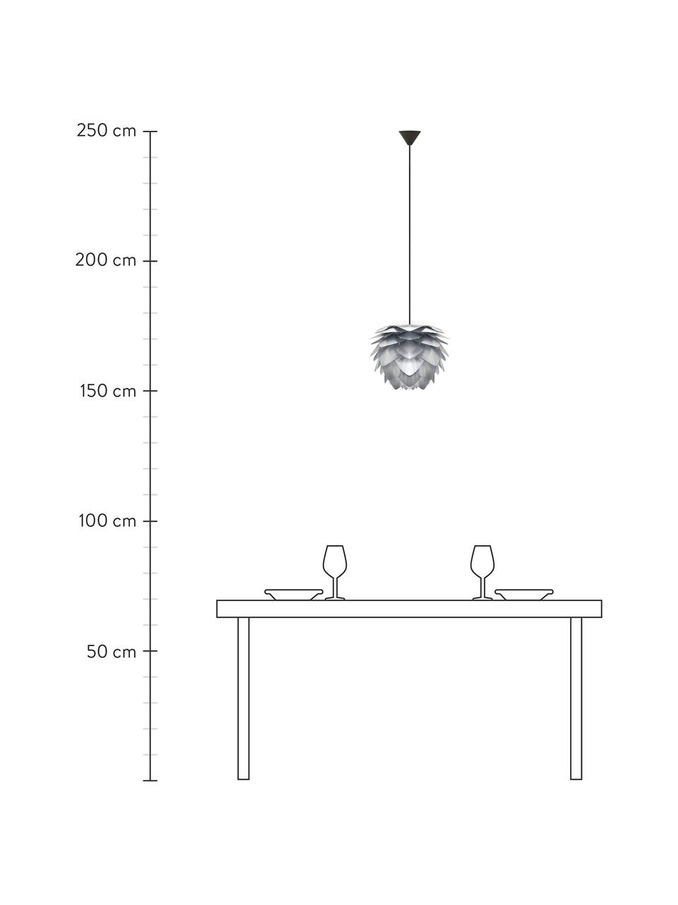 Pendelleuchte Silvia, Bausatz, Lampenschirm: Polypropylen, Baldachin: Kunststoff, Stahlfarben, Ø 32 x H 25 cm