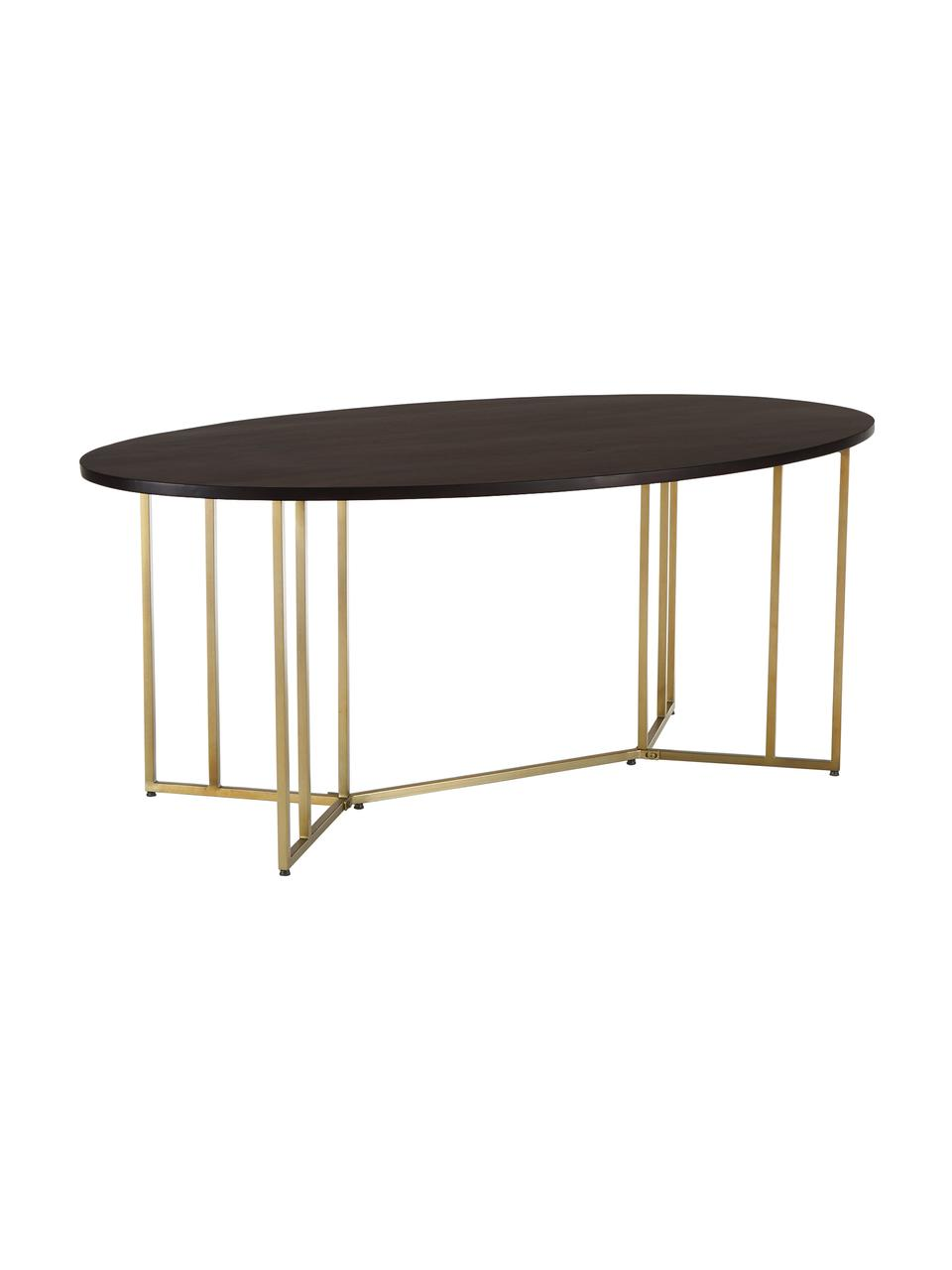 Owalny stół do jadalni z litego drewna Luca, Blat: lite drewno mangowe, laki, Stelaż: metal powlekany, Blat: drewno mangowe, lakierowane na ciemno Stelaż: odcienie złotego, błyszczący, S 180 x G 100 cm