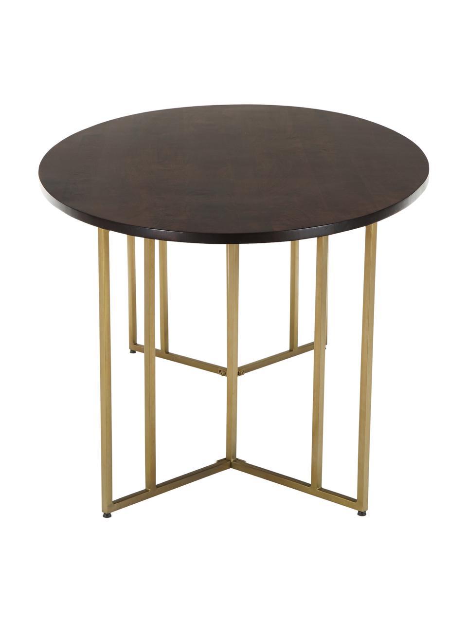 Table ovale bois massif Luca, Plateau: bois de manguier, foncé laqué Structure: couleur dorée
