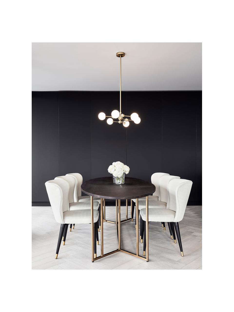 Ovaler Esstisch Luca mit Massivholzplatte, Tischplatte: Massives Mangoholz, gebür, Gestell: Metall, pulverbeschichtet, Braun, Goldfarben, B 180 x T 100 cm
