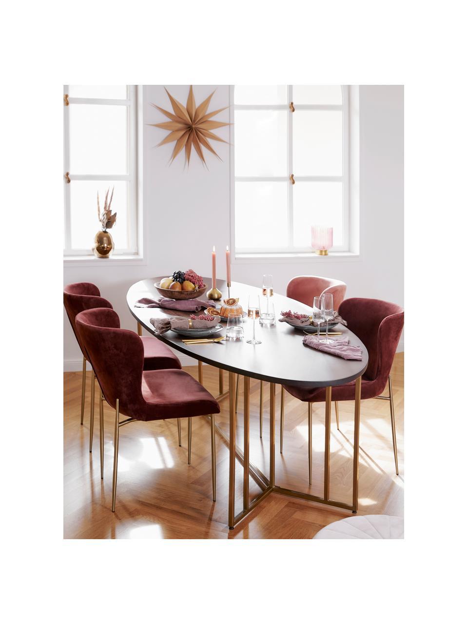 Ovaler Esstisch Luca mit Massivholzplatte, Tischplatte: Massives Mangoholz, gebür, Gestell: Metall, pulverbeschichtet, Mangoholz, dunkel lackiert, B 180 x T 100 cm