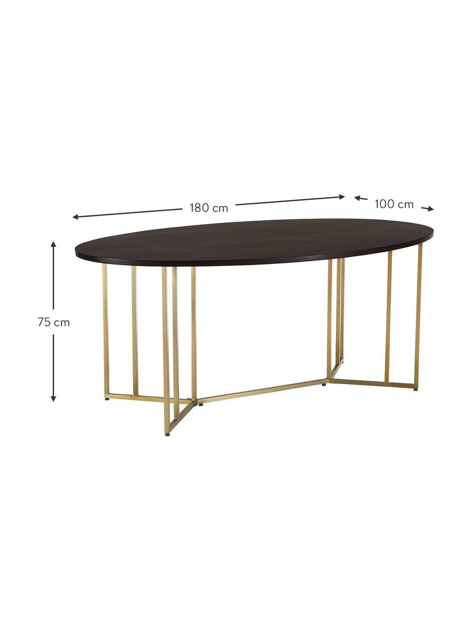 Owalny stół do jadalni z blatem z drewna mangowego Luca, Blat: lite drewno mangowe, szcz, Stelaż: metal malowany proszkowo, Brązowy, odcienie złotego, S 180 x G 100 cm