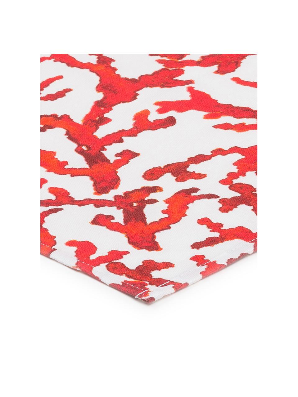 Baumwoll-Tischdecke Estran mit Korallenprint, Baumwolle, Rot, Weiß, Für 4 - 6 Personen (B 160 x L 160 cm)