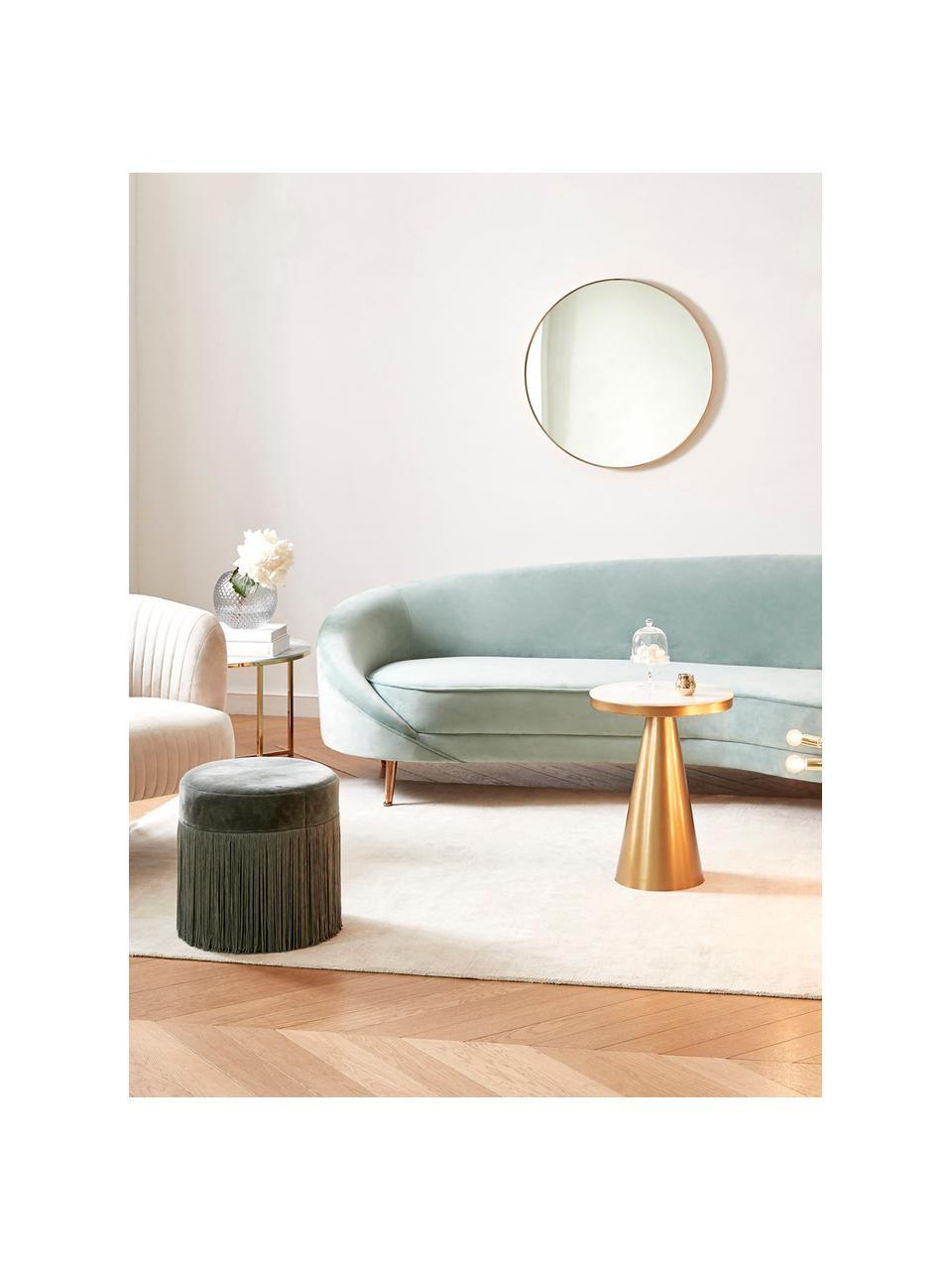 Fluwelen bank Gatsby (3-zits) in turquoise, Bekleding: fluweel (polyester), Frame: massief eucalyptushout, Poten: gegalvaniseerd metaal, Fluweel turquoise, B 245 x D 102 cm