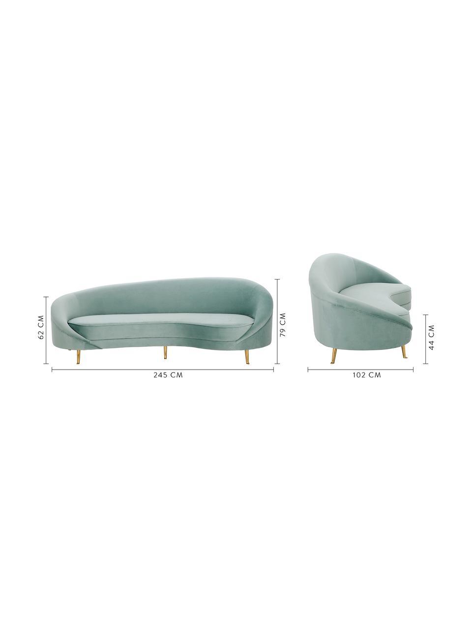 Sofa z aksamitu w kształcie nerki Gatsby (3-osobowa), Tapicerka: aksamit (poliester) 2500, Tapicerka: pianka na zawieszeniu spr, Nogi: metal galwanizowany, Aksamitny turkusowy, S 245 x G 102 cm