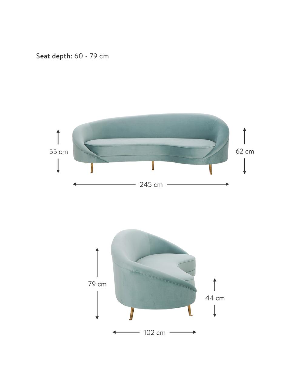 Canapé haricot 3 places velours Gatsby, Velours turquoise