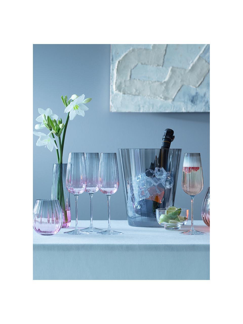 Ručně vyrobená sklenice na sekt sbarevným přechodem Dusk, 2 ks, Růžová, šedá