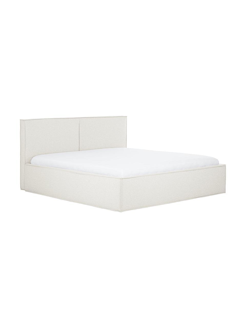 Gestoffeerd bed Dream met opbergruimte in crèmewit, Frame: massief grenenhout en pla, Bekleding: 100% polyester (gestructu, Geweven stof crèmewit, 180 x 200 cm