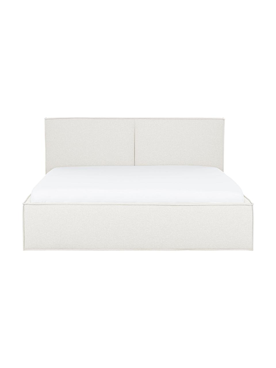 Gestoffeerd bed Dream met opbergruimte in crèmewit, Frame: massief grenenhout en pla, Bekleding: polyester (gestructureerd, Geweven stof crèmewit, 180 x 200 cm