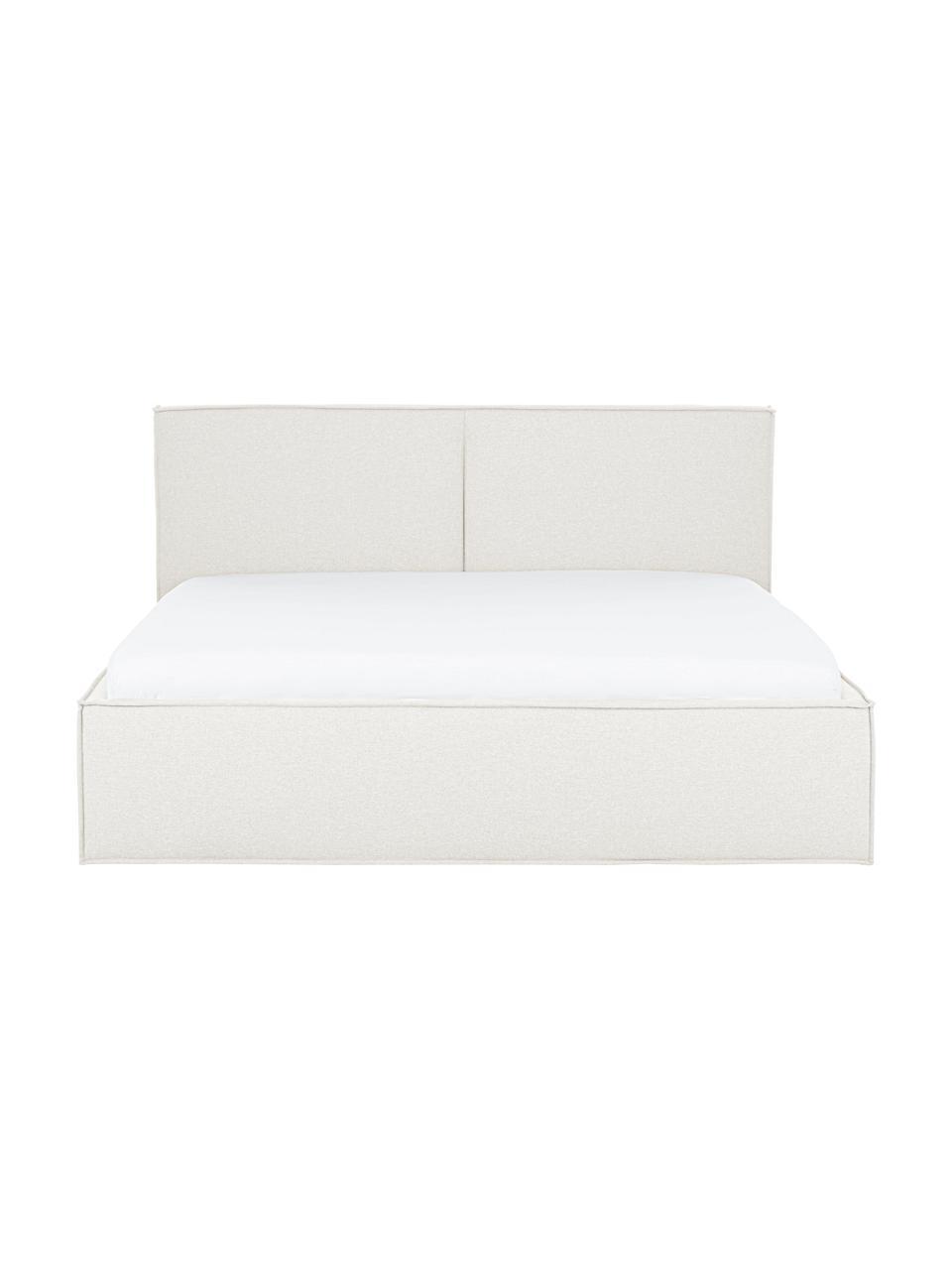 Letto imbottito in tessuto bianco crema con contenitore Dream, Rivestimento: 100% poliestere (tessuto , Tessuto beige, 180 x 200 cm