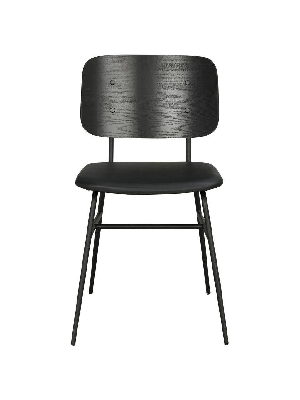 Sedia in legno Brent, Seduta: similpelle (poliuretano), Struttura: metallo verniciato, Nero opaco, Larg. 47 x Prof. 57 cm