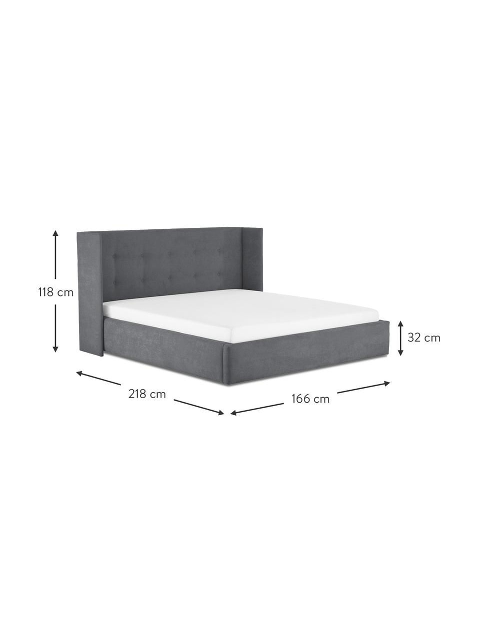 Gestoffeerd bed Star in grijs, Frame: massief grenenhout en pla, Bekleding: polyester (gestructureerd, Geweven stof grijs, 180 x 200 cm