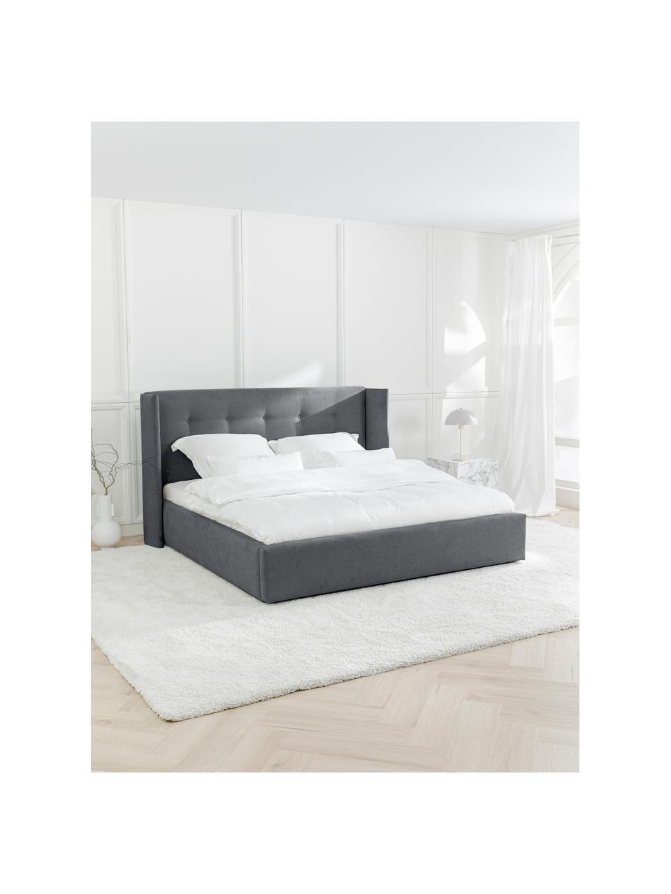 Łóżko tapicerowane z pikowanym zagłówkiem Star, Korpus: lite drewno sosnowe i pły, Tapicerka: poliester (tkanina strukt, Ciemny szary, S 180 x D 200 cm