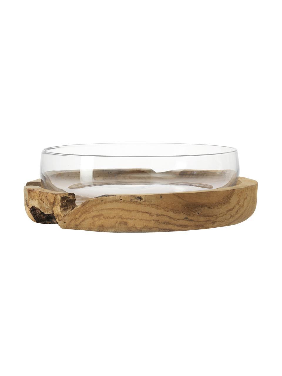 Ręcznie wykonana miska dekoracyjna z cokołem z drewna tekowego Terra, Transparentny, Ø 28 x W 11 cm