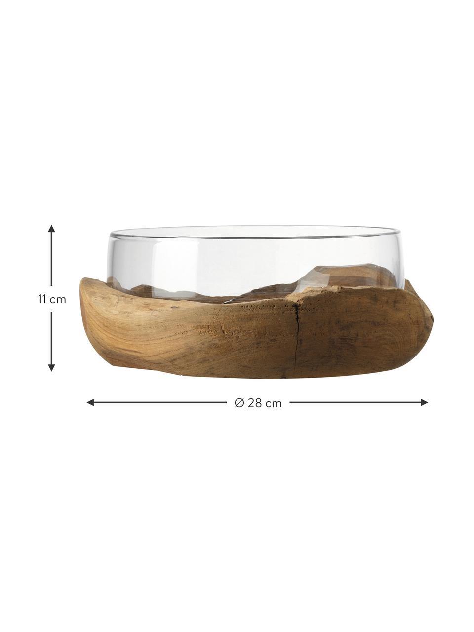 Handgefertigte Deko-Schale Terra mit Teaksockel, Sockel: Teakholz, Transparent, Ø 28 x H 11 cm