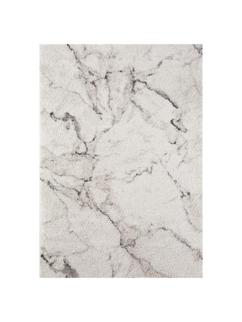 Zacht hoogpolig vloerkleed Mayrin met gemarmerd patroon, Bovenzijde: 100% polypropyleen, Onderzijde: jute, Crèmekleurig, grijs, B 160 x L 230 cm (maat M)