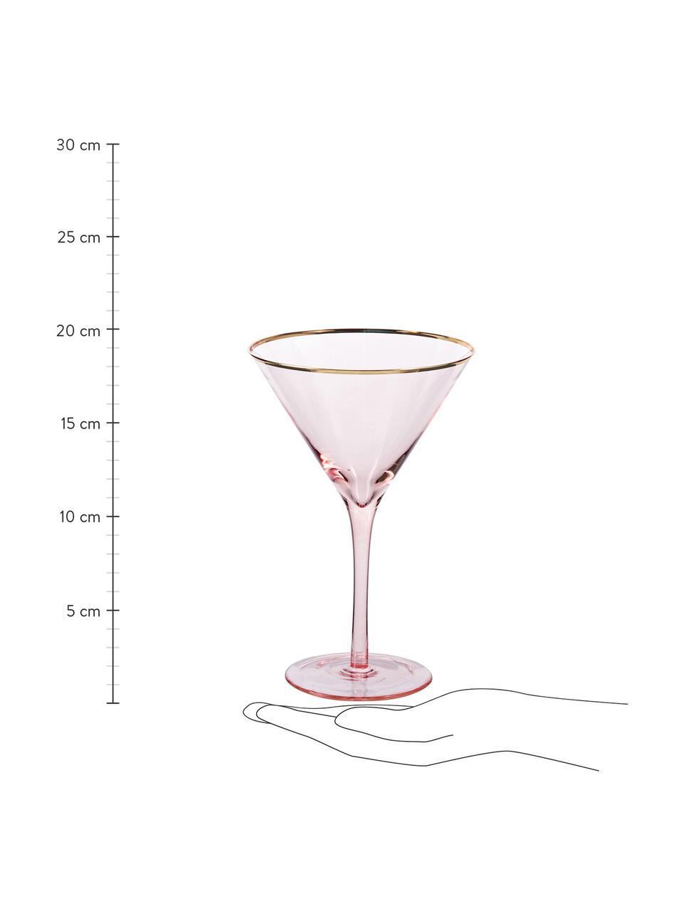 Martinigläser Chloe in Rosa mit Goldrand, 4 Stück, Glas, Pfirsich, Ø 12 x H 19 cm