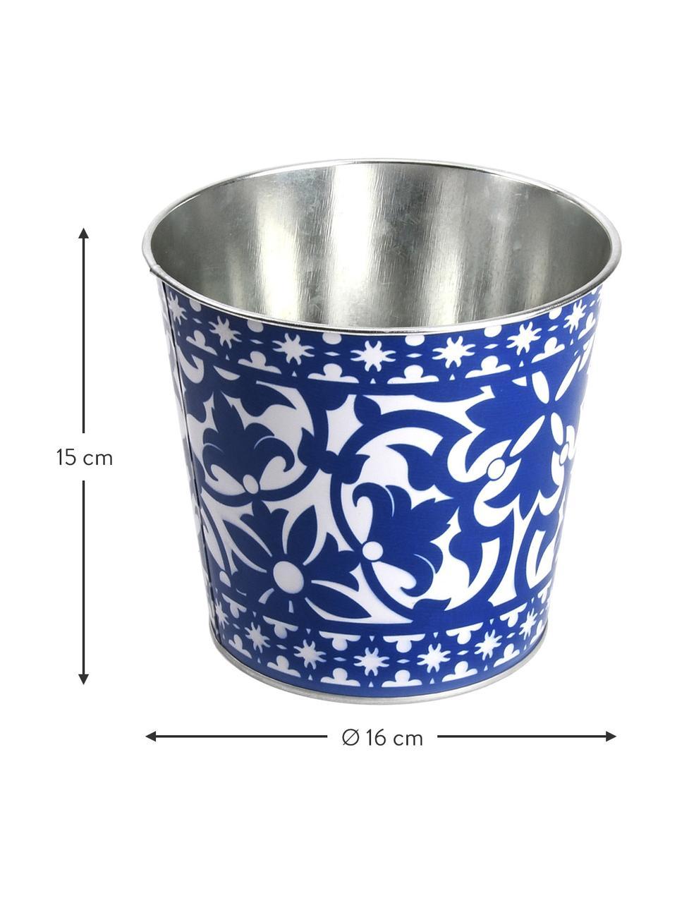 Kleiner Übertopf Portugal, Zink, beschichtet, Blau, Weiß, Ø 16 x H 15 cm