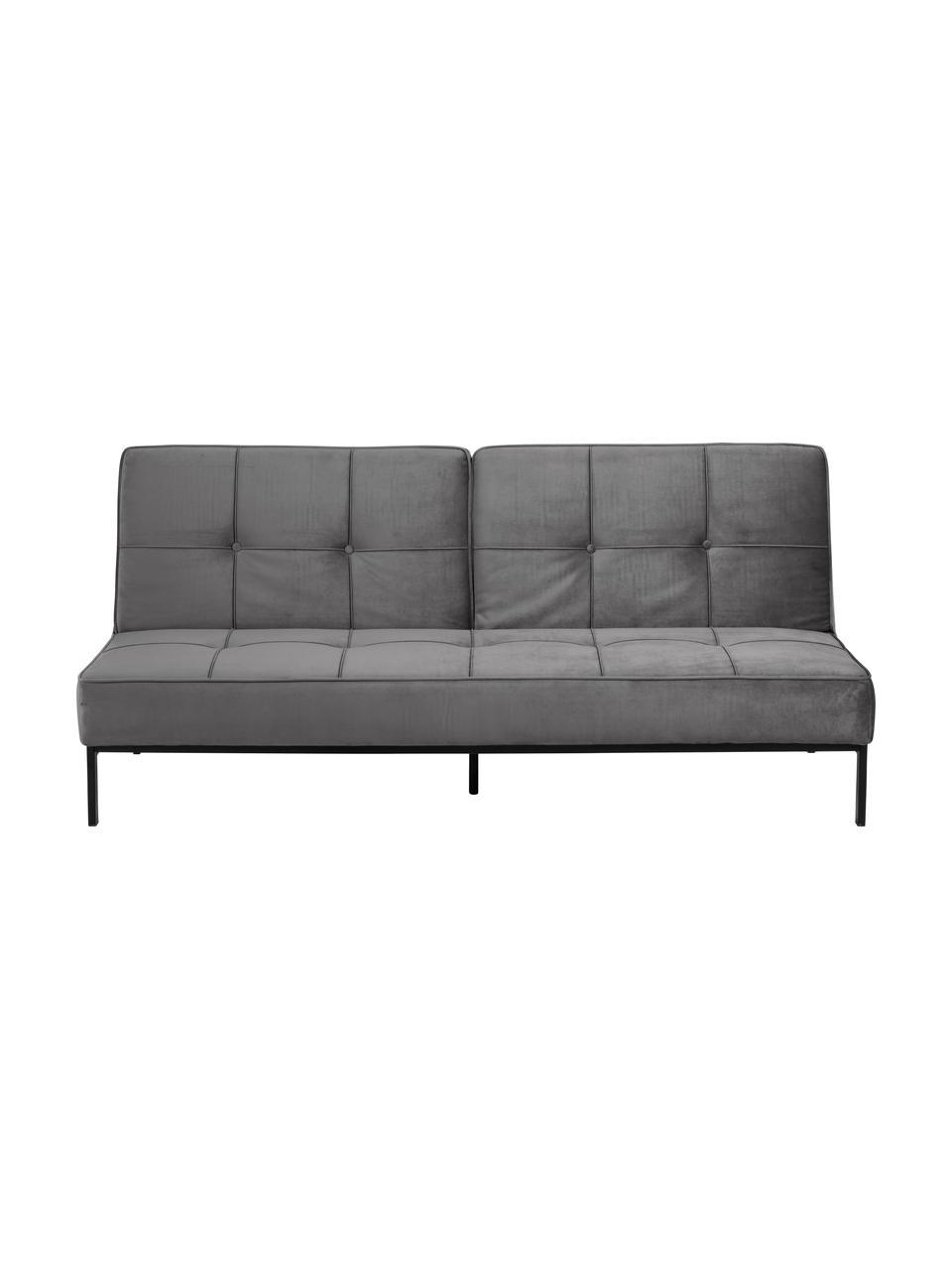 Sofa rozkładana z aksamitu z metalowymi nogami Perugia (2-osobowa), Tapicerka: aksamit poliestrowy Dzięk, Nogi: metal lakierowany, Aksamitny ciemny szary, S 198 x G 95 cm