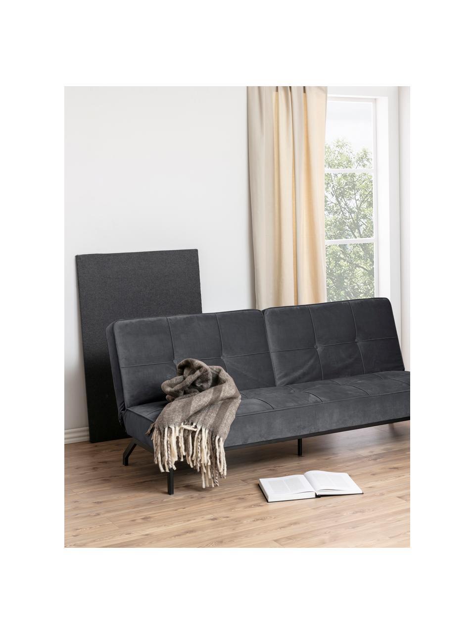 Sofa z aksamitu z metalowymi nogami i  funkcją spania Perugia (2-osobowa), Tapicerka: aksamit poliestrowy Dzięk, Nogi: metal lakierowany, Aksamitny ciemny szary, S 198 x G 95 cm