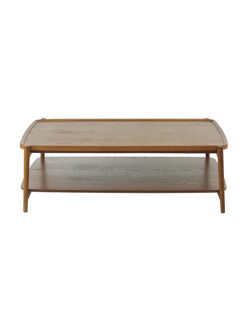 Stolik kawowy z drewna dębowego Libby, Stelaż: lite drewno orzecha włosk, Drewno orzecha włoskiego, S 110 x W 35 cm