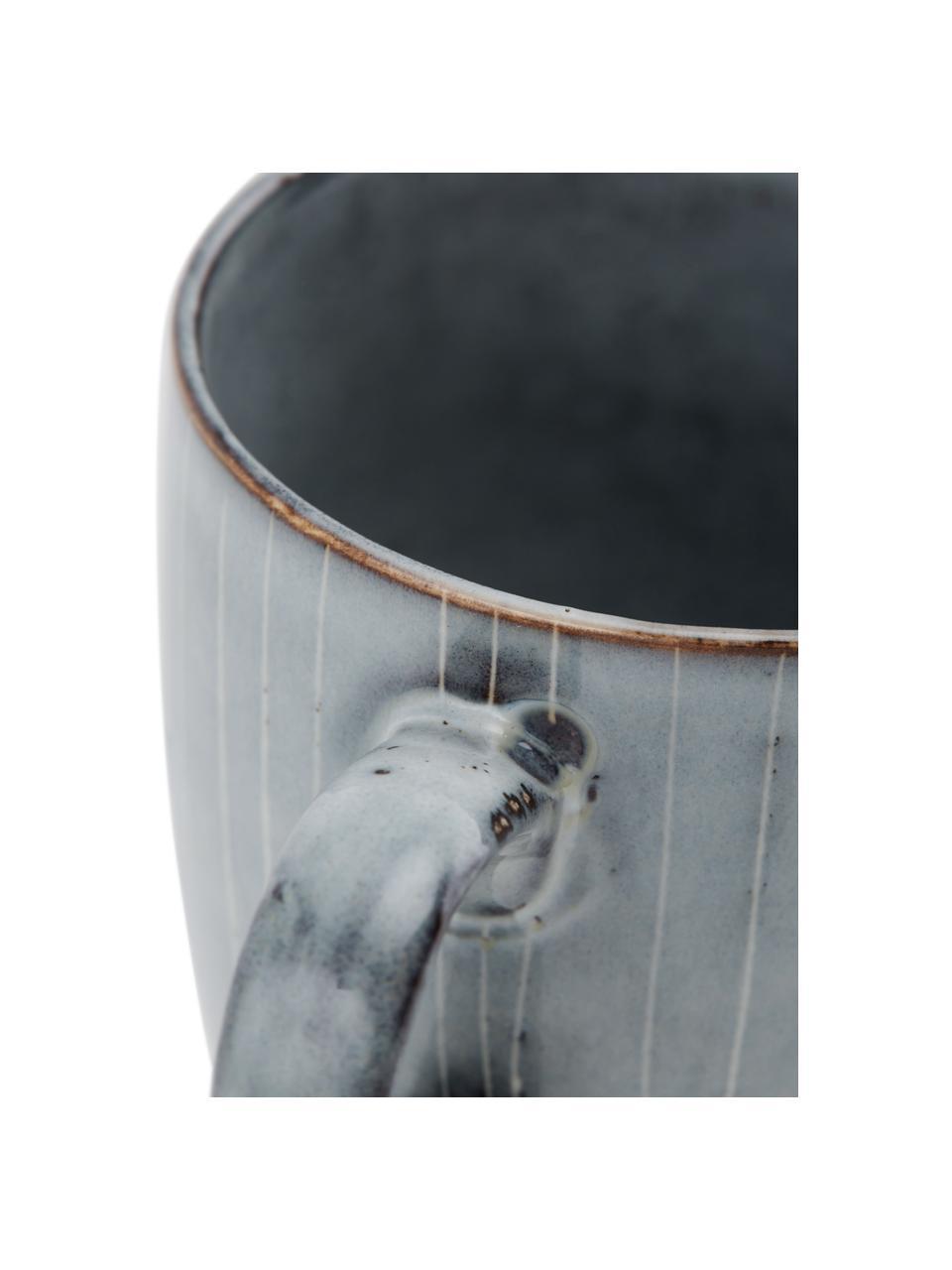 Ręcznie wykonany kubek z kamionki Nordic Sea, 6 szt., Kamionka, Odcienie szarego, odcienie niebieskiego, Ø 8 x W 10 cm
