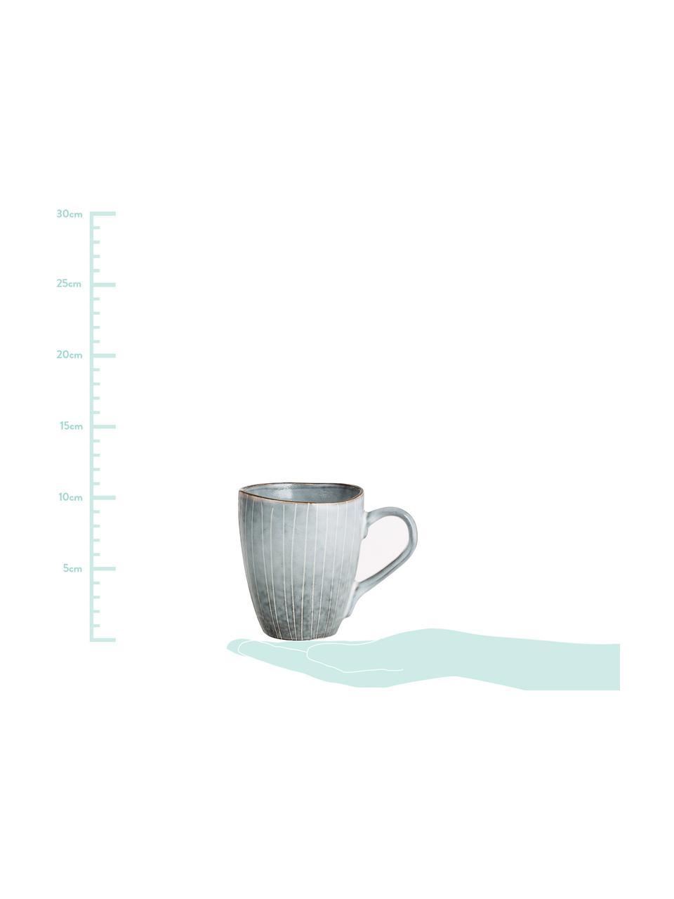Handgemachte Tassen Nordic Sea aus Steingut in verschiedenen Größen, 6 Stück, Steingut, Grau- und Blautöne, Ø 8 x H 10 cm