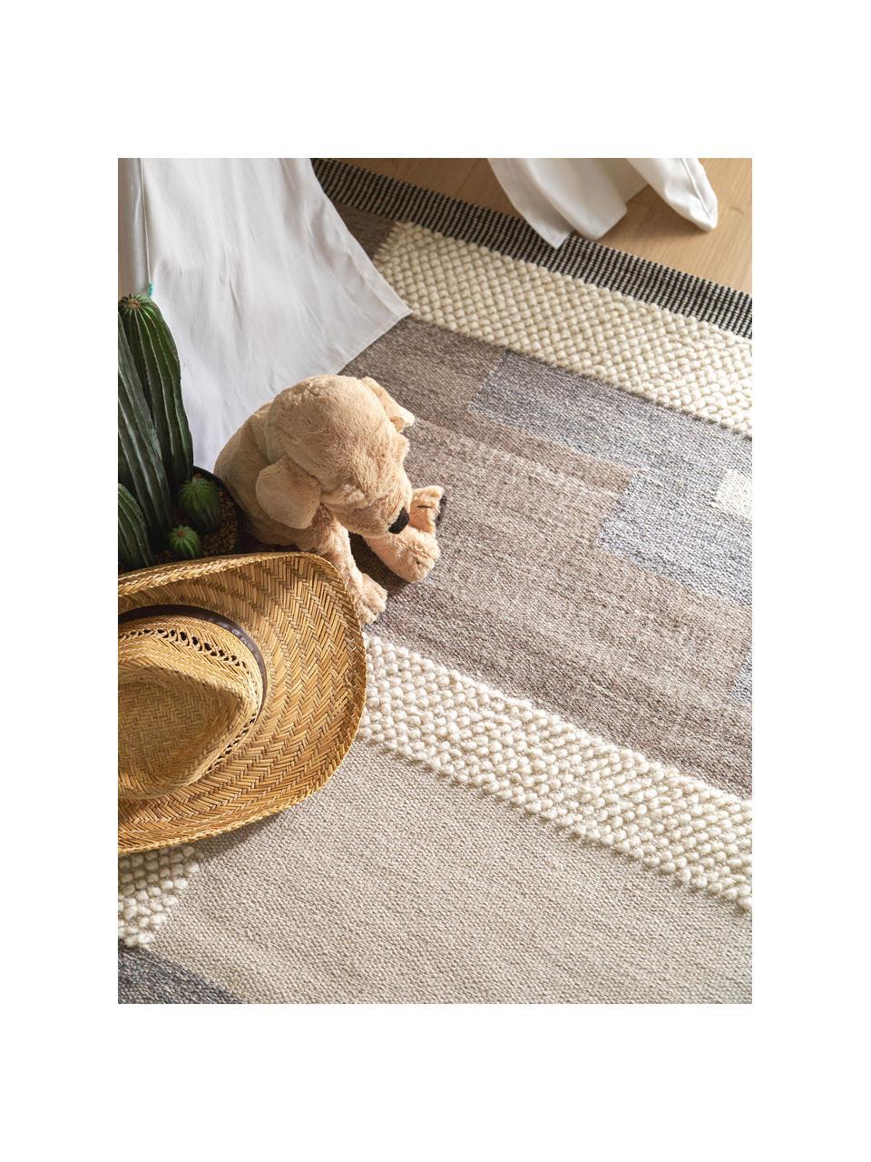 Tappeto in lana tessuto a mano con nappe Tammi, 80% lana, 20% cotone Nel caso dei tappeti di lana, le fibre possono staccarsi nelle prime settimane di utilizzo, questo e la formazione di lanugine si riducono con l'uso quotidiano, Grigio, beige, taupe, Larg. 200 x Lung. 300 cm (taglia L)
