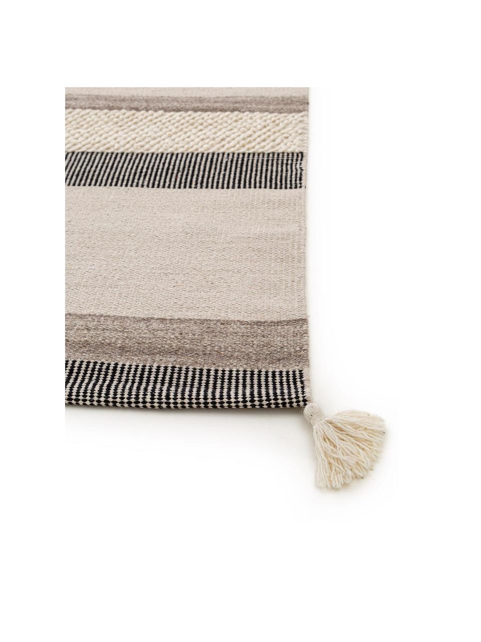 Ręcznie tkany dywan z wełny Tammi, 80% wełna, 20% bawełna Włókna dywanów wełnianych mogą nieznacznie rozluźniać się w pierwszych tygodniach użytkowania, co ustępuje po pewnym czasie, Szary, beżowy, taupe, S 200 x D 300 cm (Rozmiar L)