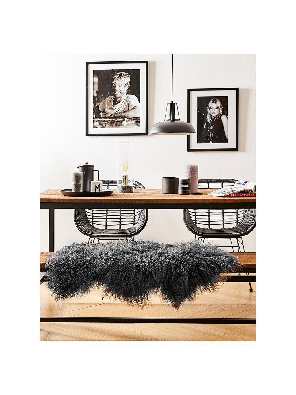 Skóra jagnięca o długim włosiu Ella, skręcona, Ciemny szary, S 50 x D 80 cm