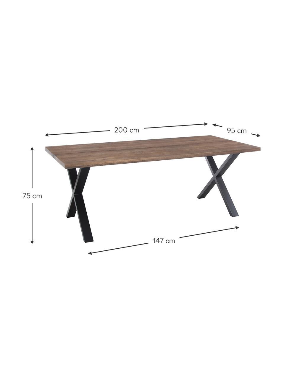 Esstisch Montpellier mit Massivholzplatte, 200 x 95 cm, Tischplatte: Massives Eichenholz, geöl, Gestell: Stahl, pulverbeschichtet, Eichenholz, B 200 x T 95 cm