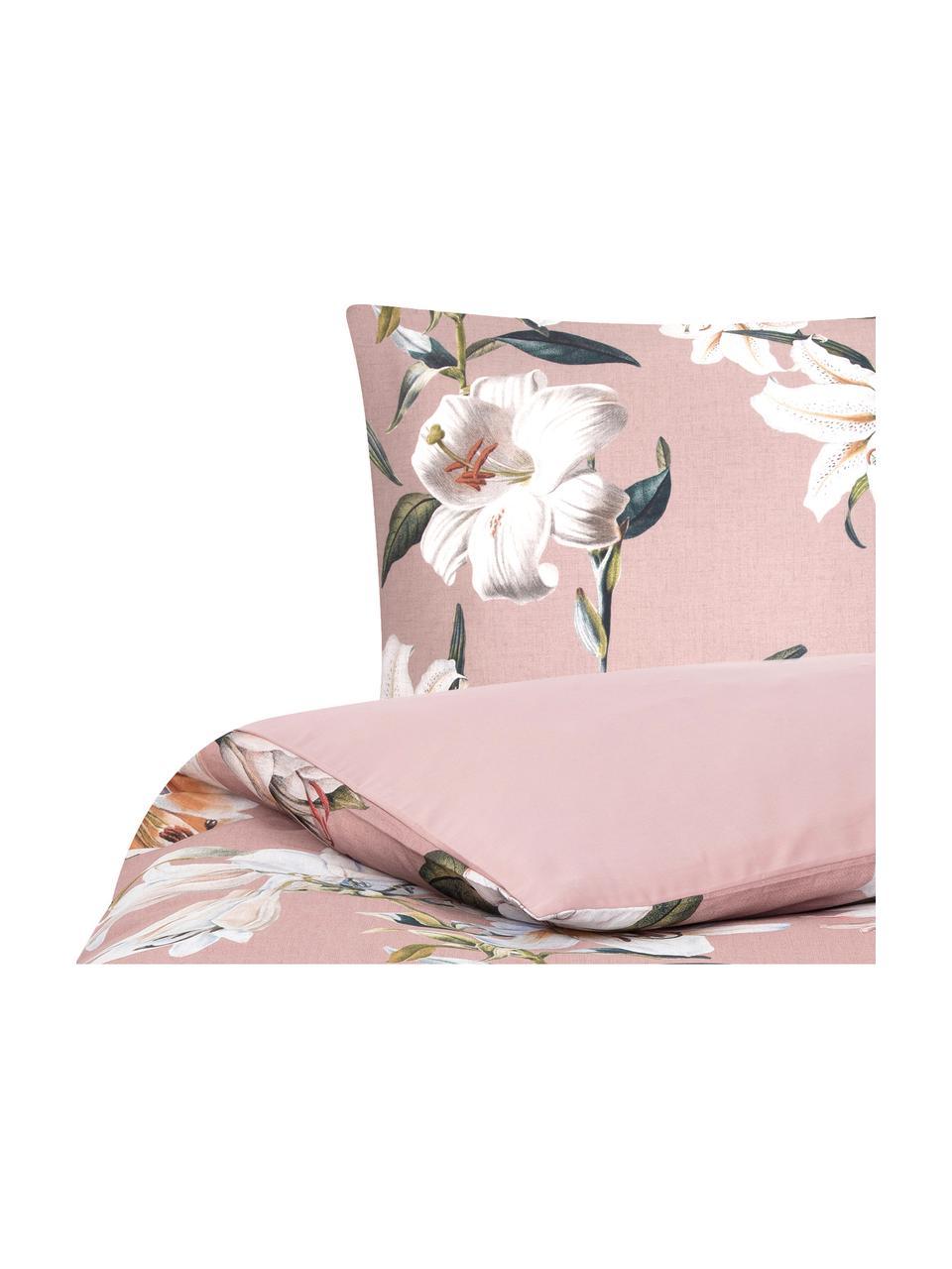 Pościel z satyny bawełnianej Flori, Przód: brudny różowy, kremowobiały Tył: brudny różowy, 240 x 220 cm + 2 poduszki 80 x 80 cm