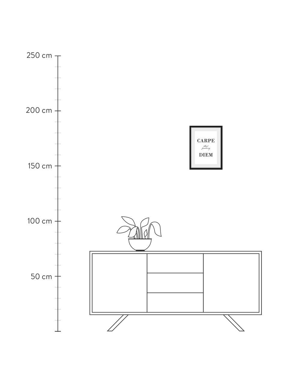 Gerahmter Digitaldruck Carpe Diem, Bild: Digitaldruck, Rahmen: Echtholzrahmen, Front: Acrylglas, Rückseite: Mitteldichte Holzfaserpla, Bild: Schwarz, Weiß Rahmen: Schwarz, 30 x 40 cm