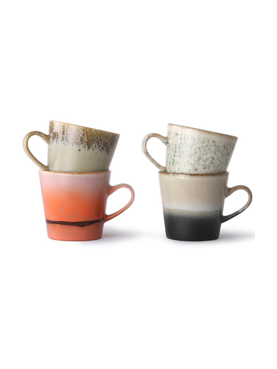 Handgemachte XS Tassen 70's im Retro Style, 4er-Set, Steingut, Mehrfarbig, Ø 9 x H 8 cm