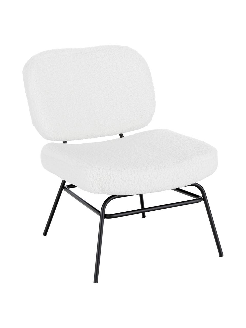 Krzesło tapicerowane Teddy Malte, Tapicerka: poliester (futro Teddy) D, Nogi: metal malowany proszkowo, Tapicerka: kremowobiały Nogi: czarny matowy, S 58 x G 71 cm