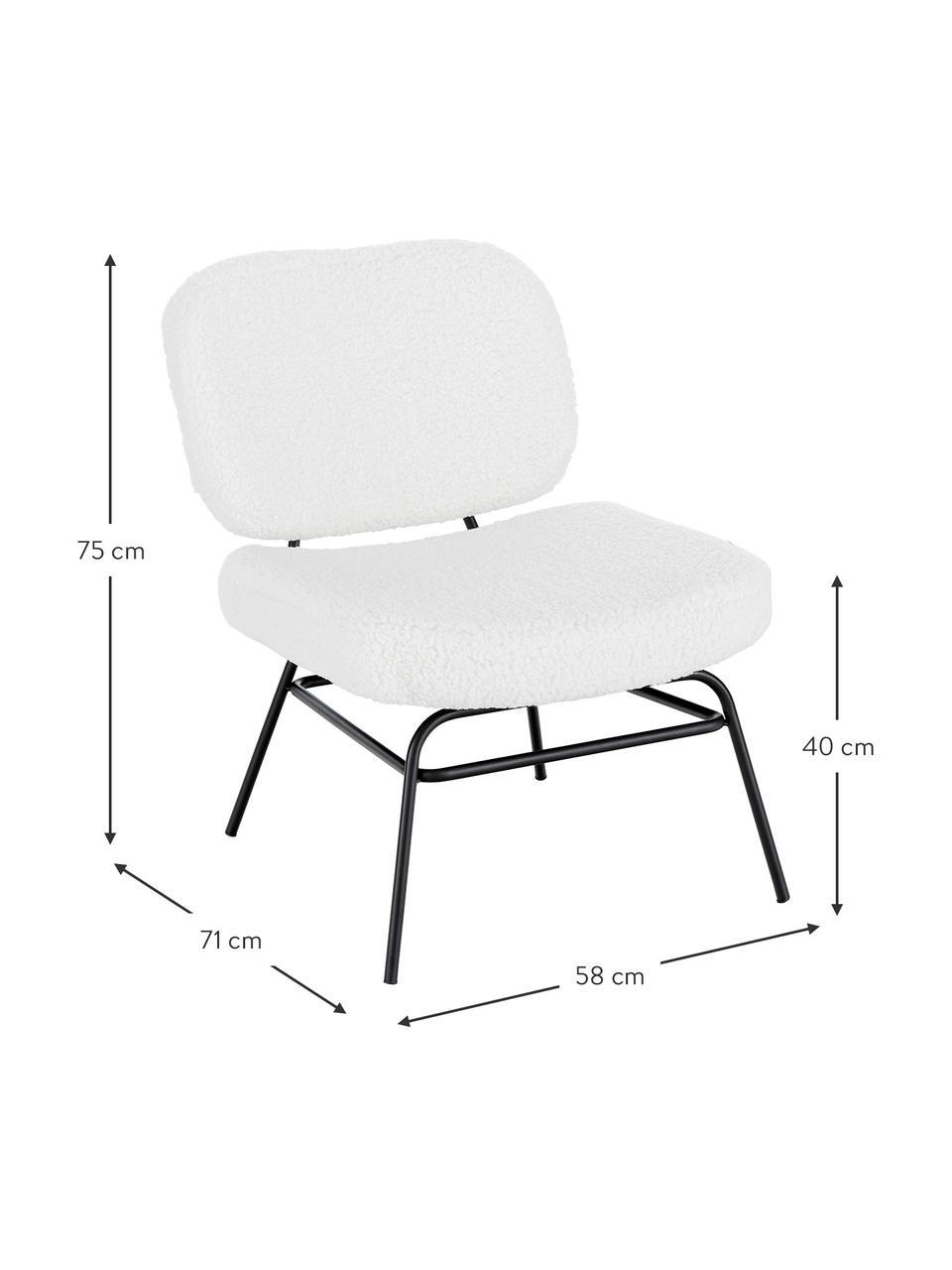 Fotel tapicerowany Teddy Malte, Tapicerka: poliester (futro Teddy) D, Nogi: metal malowany proszkowo, Tapicerka: kremowobiały Nogi: czarny matowy, S 58 x G 71 cm