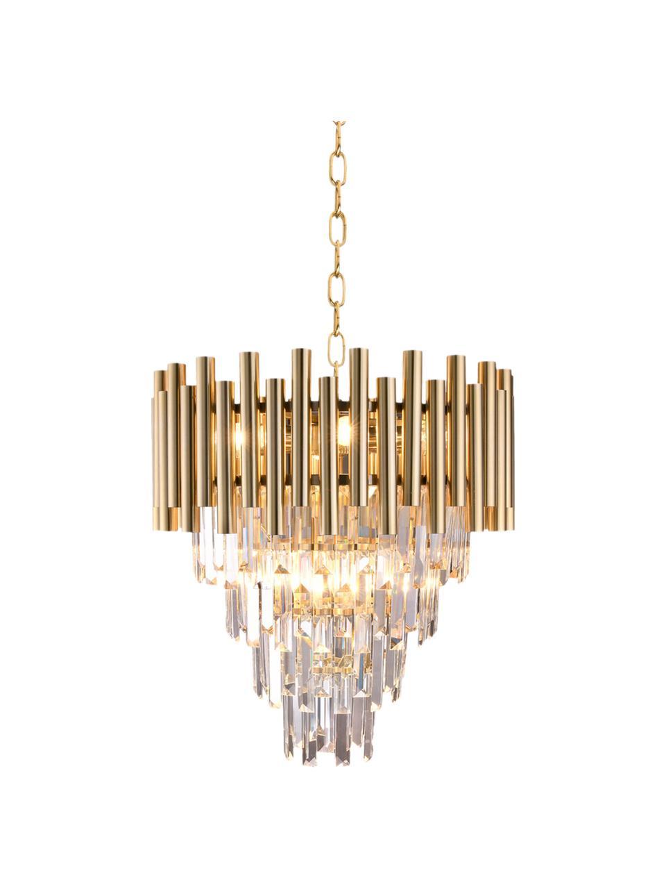 Lampadario dorato Madison, Struttura: metallo rivestito, Baldacchino: metallo rivestito, Dorato trasparente, Ø 45 x Alt. 50 cm