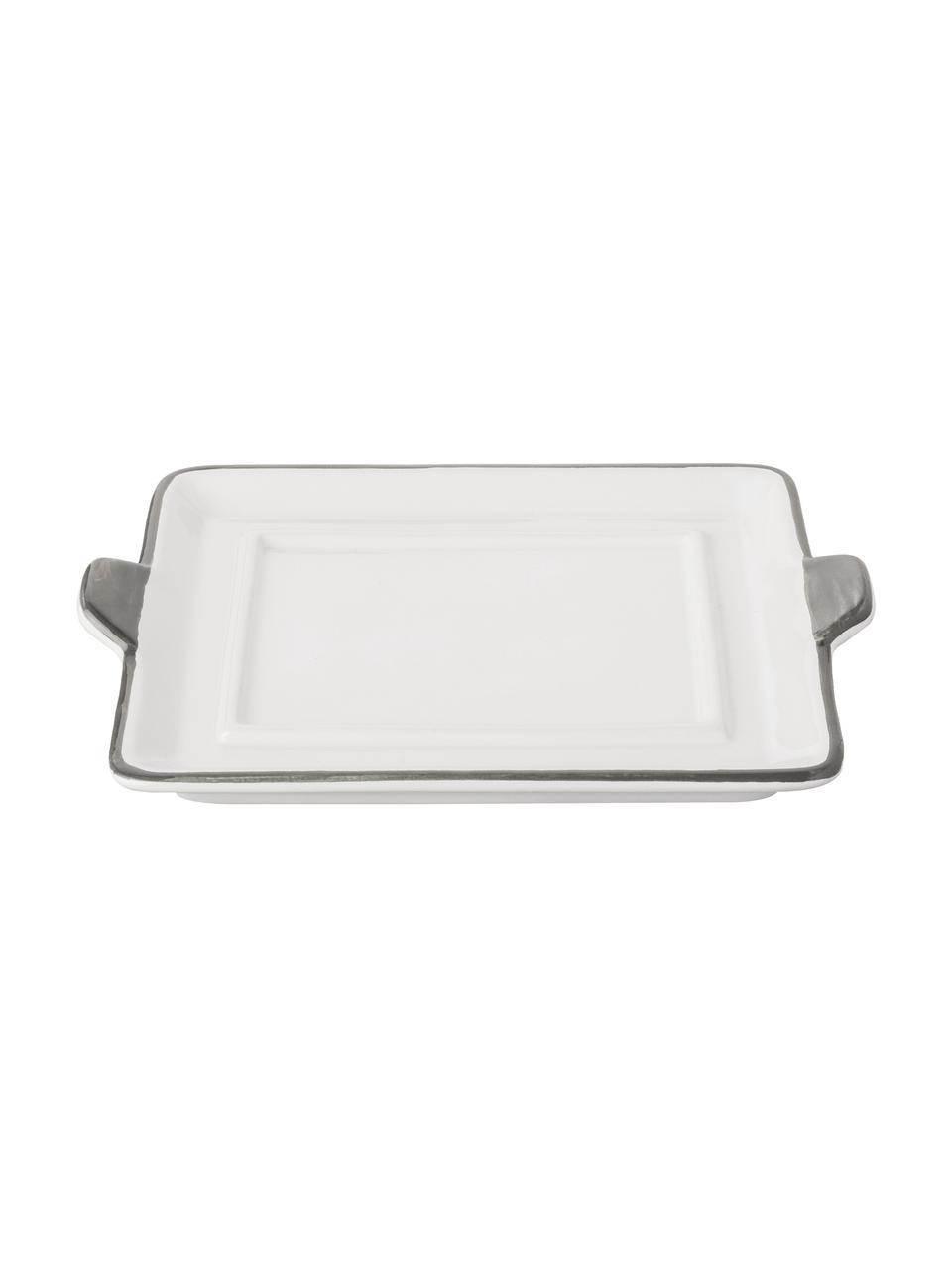 Handbemalte Butterdose Grauer Hirsch, Keramik, Grau,Weiß, 9 x 5 cm