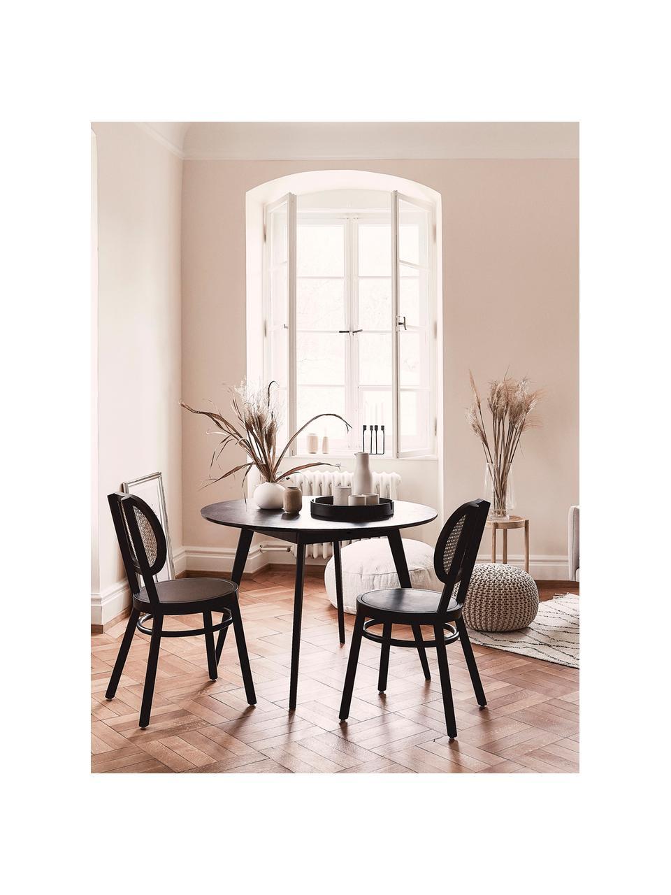 Okrągły stół do jadalni z drewna Yumi, Blat: płyta pilśniowa średniej , Nogi: drewno kauczukowe, lite i, Czarny, Ø 115 x W 74 cm