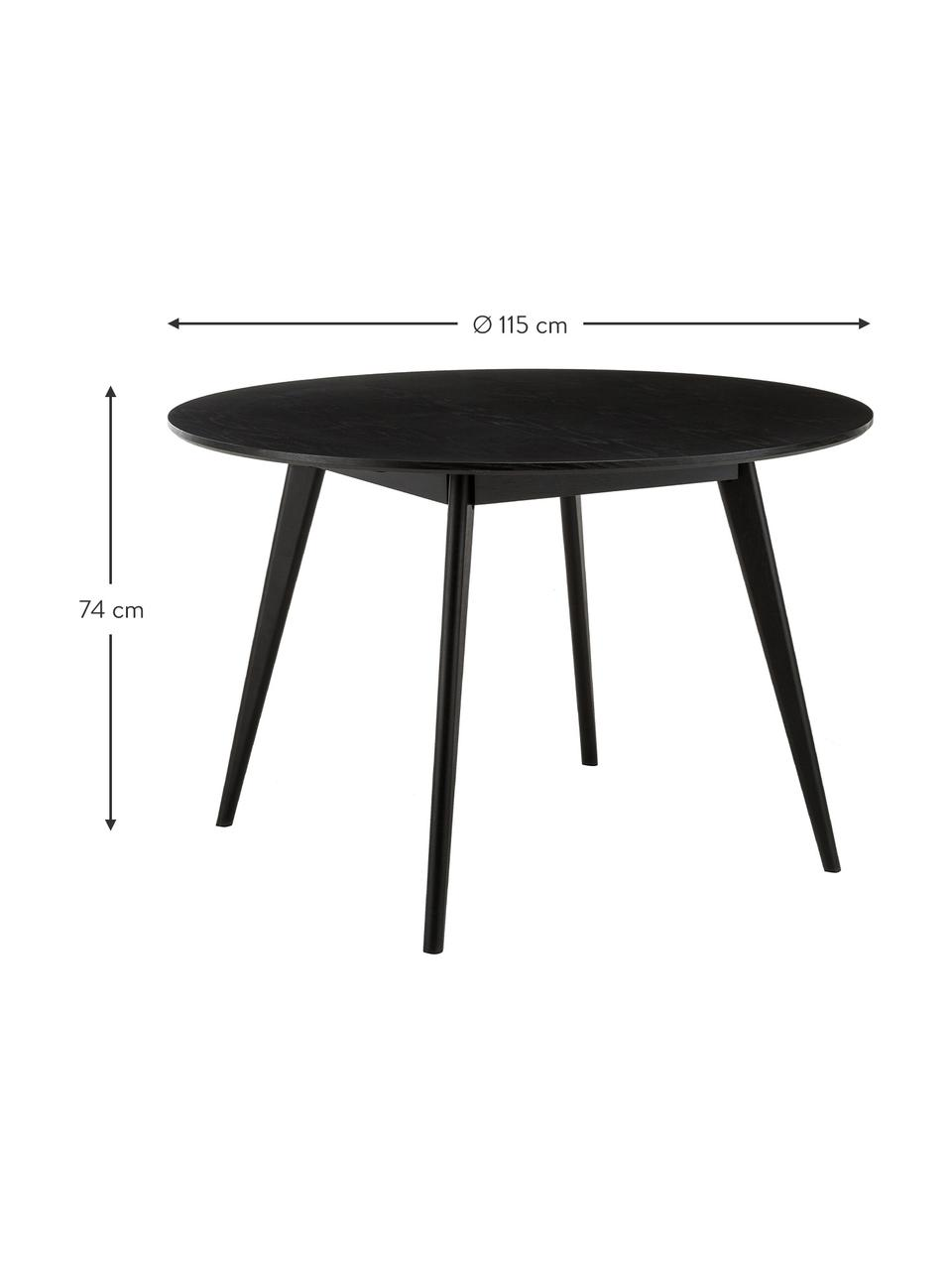 Runder Esstisch Yumi, Ø 115 cm, Tischplatte: Mitteldichte Holzfaserpla, Beine: Gummibaumholz, massiv und, Schwarz, Ø 115 x H 74 cm