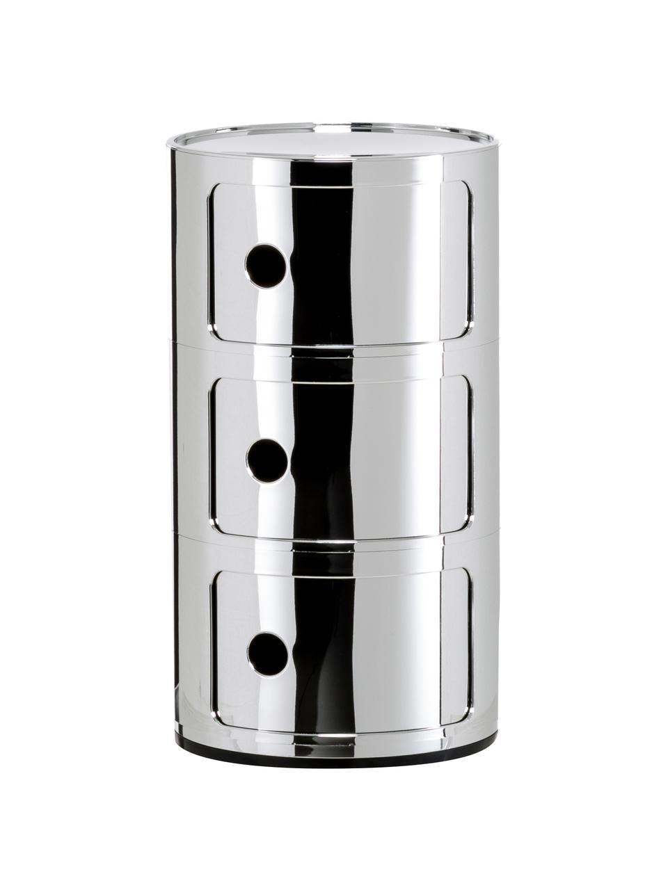 Design bijzettafel Componibile, 3 vakken, Gelakt kunststof (ABS), Chroomkleurig, Ø 32 x H 59 cm